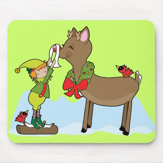 Red Nose Reindeer Mouse Mat