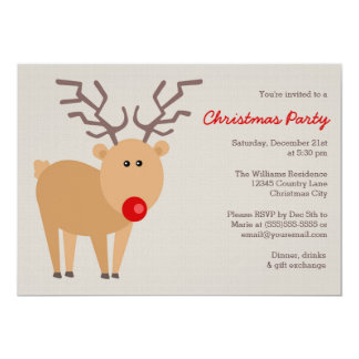 Red Nose Reindeer Rustic Christmas Party Card