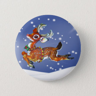 Red Nose Reindeer Vintage Art 6 Cm Round Badge