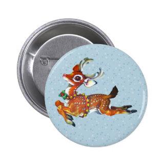 Red Nose Reindeer Vintage Art Pinback Button