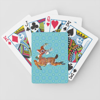 Red Nose Reindeer Vintage Art Bicycle Playing Cards