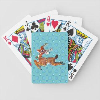 Red Nose Reindeer Vintage Art Bicycle Playing Cards