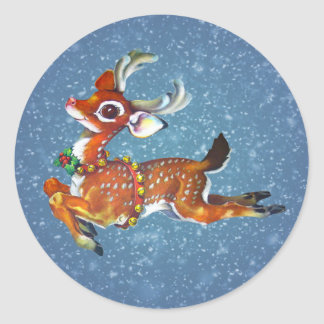 Red Nose Reindeer Vintage Art Classic Round Sticker