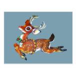 Red Nose Reindeer Vintage Art Postcard