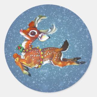 Red Nose Reindeer Vintage Art Round Sticker