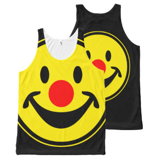 Red Nose Smiley yellow + your backg. & ideas All-Over Print Tank Top