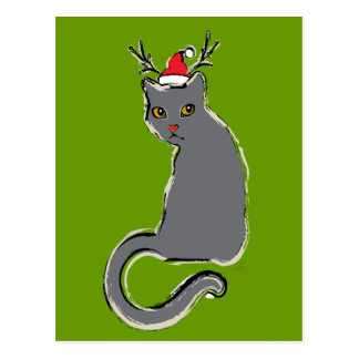 Red-Nosed Christmas Cat Post Cards