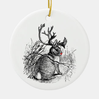 Red Nosed Jackalope Ornament