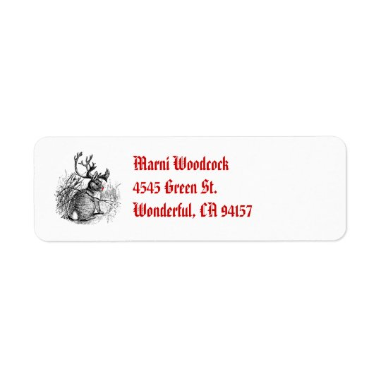 red nosed jackalope return address label