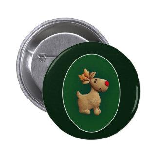Red Nosed Reindeer 6 Cm Round Badge