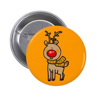 Red-nosed reindeer 6 cm round badge