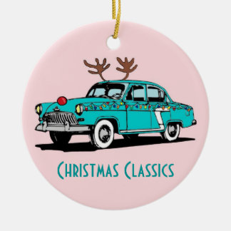 Red Nosed Reindeer Classic Car Christmas Ornament
