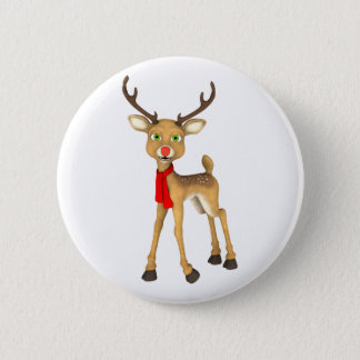 Red Nosed Reindeer Holiday Button