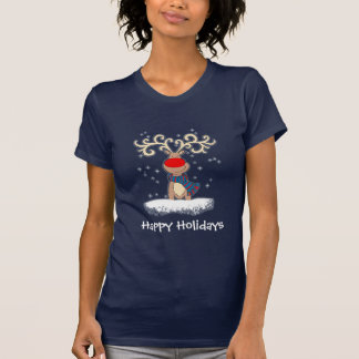 red-nosed reindeer ladies blue t-shirt