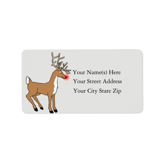 Red Nosed Reindeer Vintage Address Label