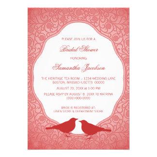 Red Nouveau Floral Frame Bridal Shower Invite