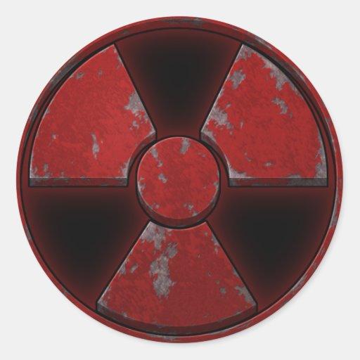 Red Nuke Round Sticker