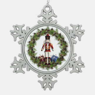Red Nutcracker Wreath Snowflake Ornament