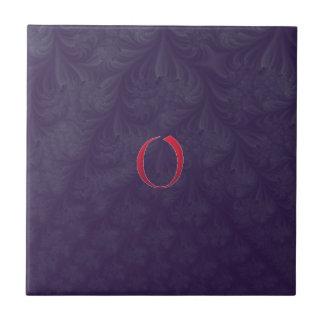 Red 'O' on purple embossed effect 3D fractal. Tile