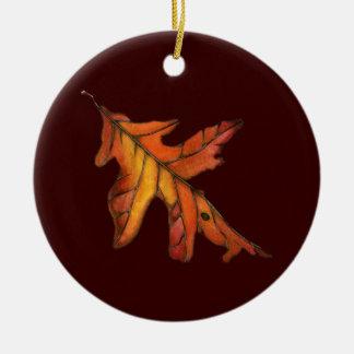 Red Oak Leaf Christmas Ornament
