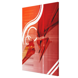 Red objects with white lines canvas print