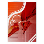 Red objects with white lines greeting card