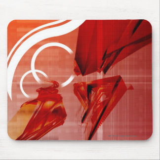 Red objects with white lines mouse mat