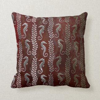 Red Ocean Seahorses Silver Burgunde Grungy Cushion