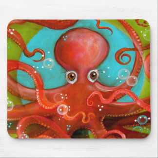 Red Octopus 1 Design Mouse Pad