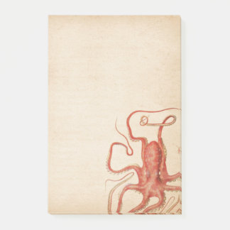 Red Octopus Aged Sepia Steampunk Post-it Notes