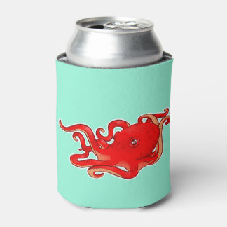 Red Octopus Can Cooler