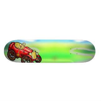 Red old car skate board deck