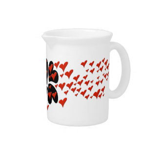 Red on Black Hearts Pitchers