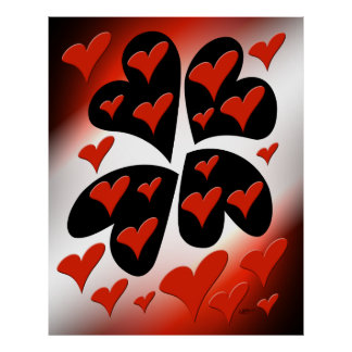 Red on Black Hearts Poster