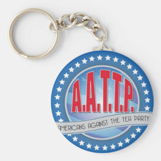 Red on Blue Anti-Tea Party Key Chain