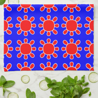 Red on blue sun design kitchen towel