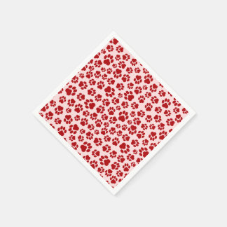 Red-on-Pink Paw Print Napkins Disposable Napkins