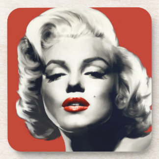 Red on Red Lips Marilyn Drink Coaster