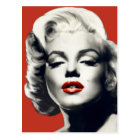 Red on Red Lips Marilyn Postcard