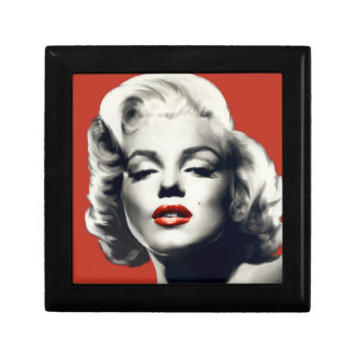 Red on Red Lips Marilyn Small Square Gift Box