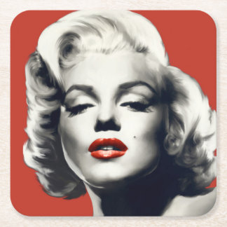 Red on Red Lips Marilyn Square Paper Coaster