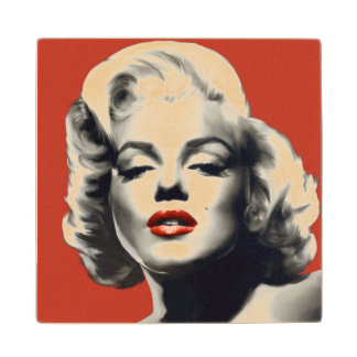 Red on Red Lips Marilyn Wood Coaster