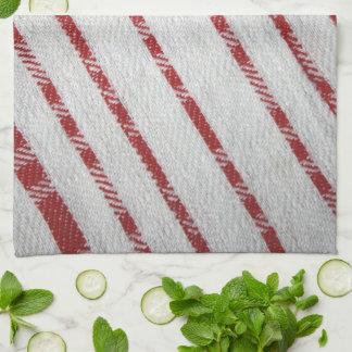 red on white diagonal stripes kitchen towel