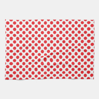 Red on White Polka Dot Tea Towel