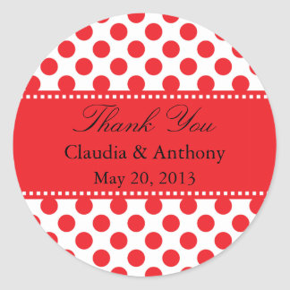 Red on White Polka Dot Thank You Wedding Classic Round Sticker