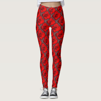 Red Opening Rosee on Grey Patterned Leggings
