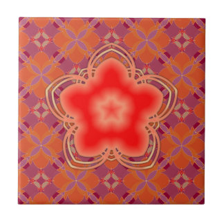 Red Opium Lotus Flower Small Square Tile