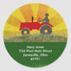 Red or Green Tractor Address Label