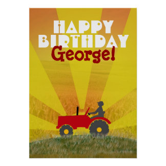 Red or Green Tractor Birthday Poster
