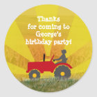 Red or Green Tractor Party Favour Bag Sticker